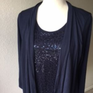White Stag navy long sleeve sequin blouse size S